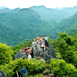 From the top of mountain in Cat Ba National Park - Halong Bay tour to Cat Ba